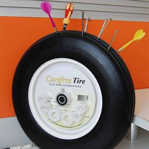 Our wheelbarrow would consistently get a flat - these no-flat tires are solid, no air to leak out.  And they are available for handtrucks, lawn mowers and golf carts, even.  (© Courtesy of Carefree Tire)