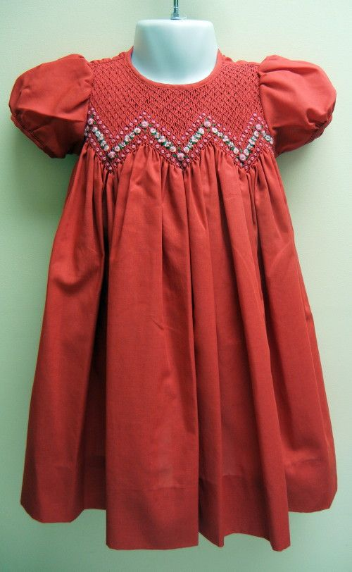 """Girls Red Smocked Dress with bloomers (Petit Ami)  Perfect for """"Valentine's Day"""" ......"""