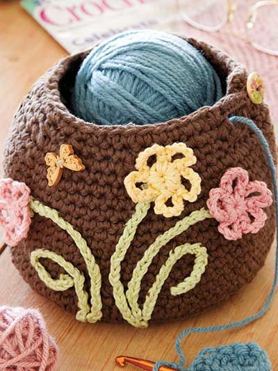 The Crocheter's Friend Crochet Pattern Download from e-PatternsCentral.com -- This cute container takes the popular pottery yarn bowl concept to a new level in a fun crochet version.