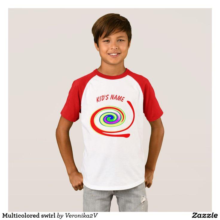 Multicolored swirl T-Shirt, artwork, buy, sale, gift ideas, zazzle, shop, name, multicolor, twirl, swirl, bright, red, yellow, green, blue, purple, rainbow, colorful, fun