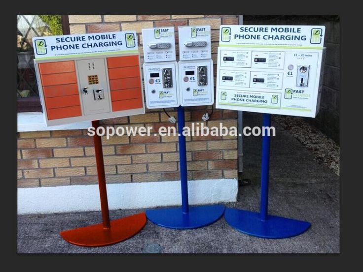 """""""Cell phone Charging Kiosk, Free standing air port cell phone charging station with locker box coin operated support all phones"""""""