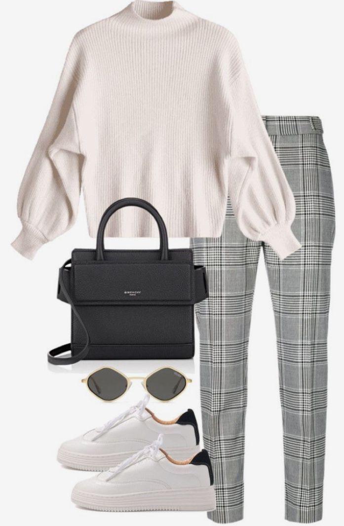 Bestellen Sie eine Hose von SINCERE SALLY, tragen Sie einen kurzen weißen Pullover (oder T) und