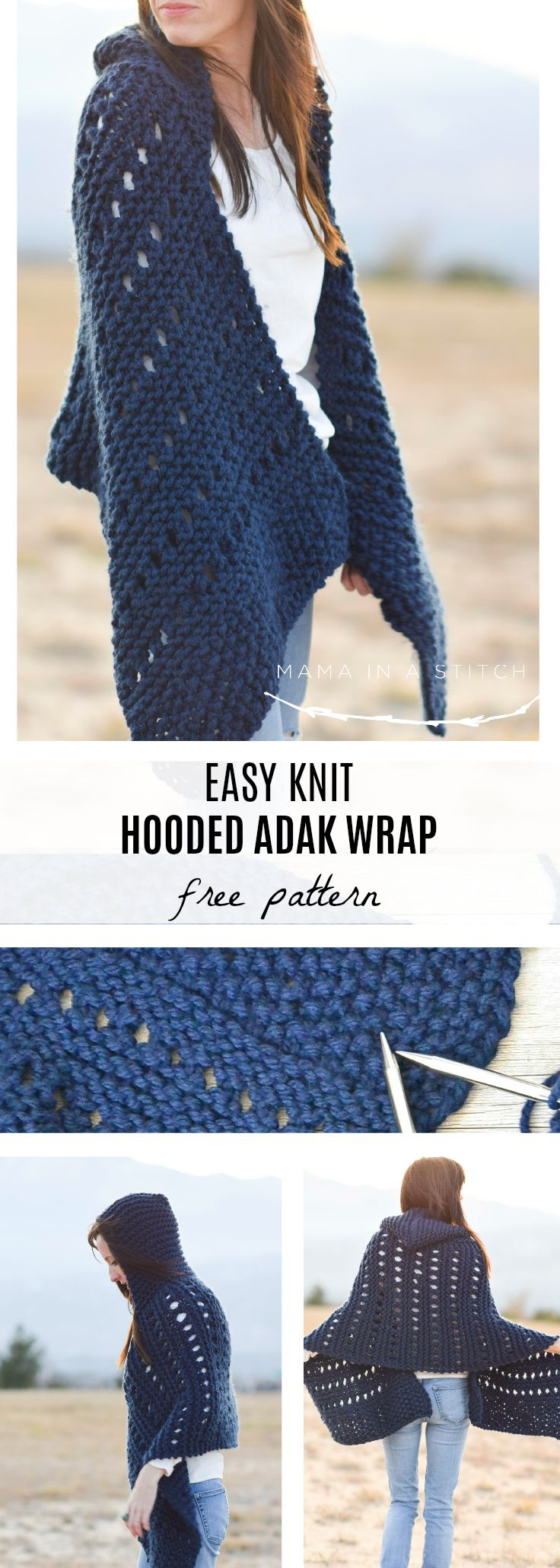 Hooded Knit Adak Wrap Pattern via @MamaInAStitch Such a pretty, free knitting pattern! It's made with super easy stitches and looks so cozy with the hood. #crafts #diy