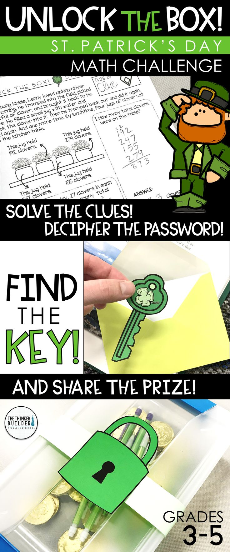 Unlock the Box! is an engaging math challenge for St. Patrick's Day, focusing on addition and subtraction with regrouping. Leprechaun Lenny has locked a prize inside a box, and students must solve his clues and find the key to unlock the box and earn the prize! Grades 4-5 ($)