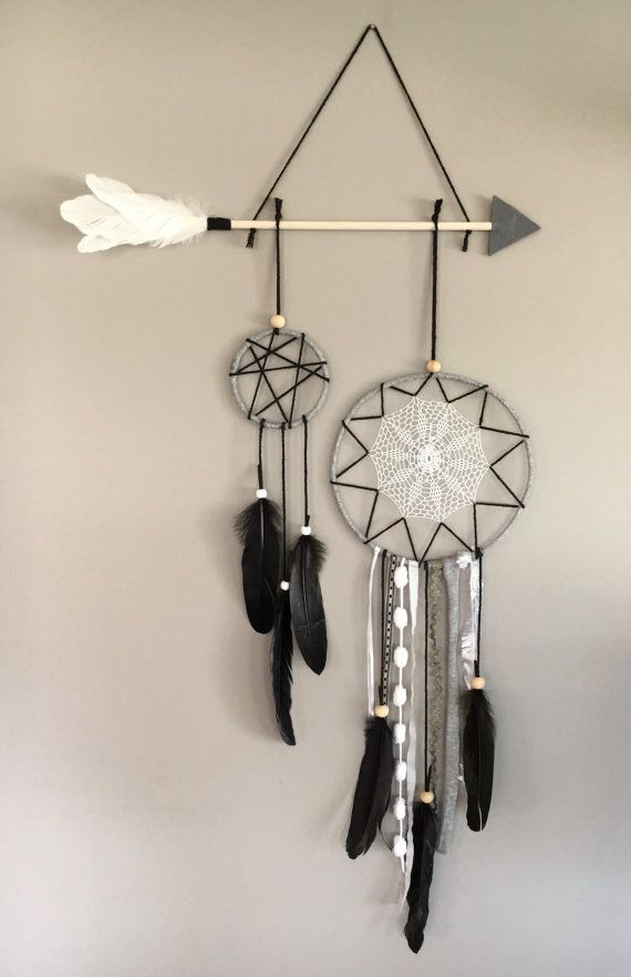 Arrow Dreamcatcher, Arrow Wallhang, Vintage Dreamcatcher, Grey Dreamcatcher, Dreamcatcher, Feather Wallhang, Bedroom Decor, Wall Decor