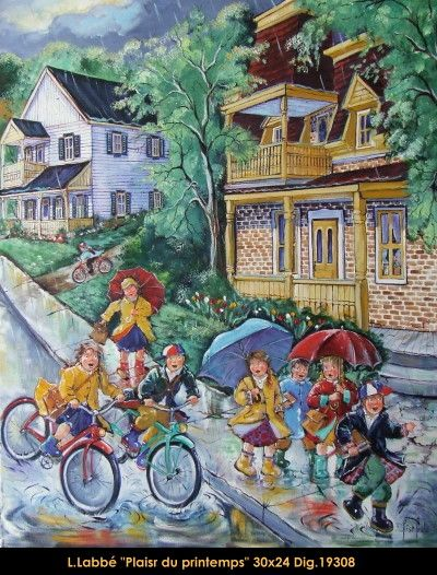 Original oil on canvas painting by Lise Labbé #labbe #art #artnaif #fineart #figurativeart #kidscharacters #summer #rainyday #canadianartist #quebecartist #originalpainting #oilpainting #balcondart #multiartltee