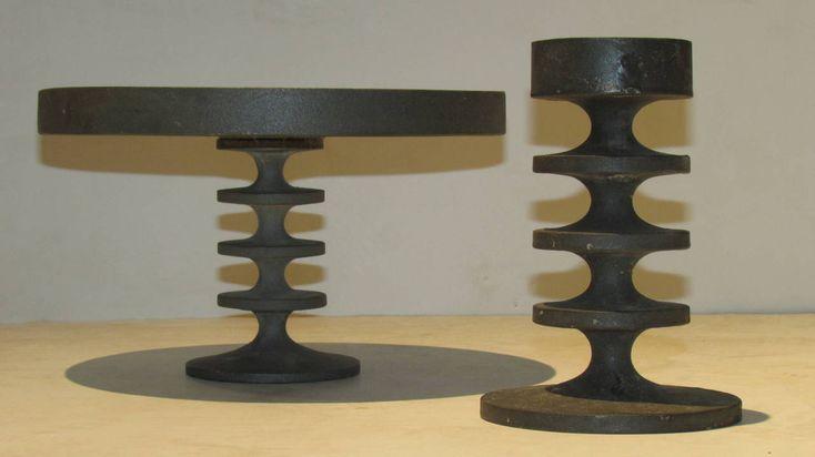 1960's Modern Cast Iron Tazza & Candlestick image 2