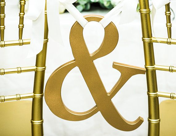 Ampersand Chair Sign - 12 Inch Wooden Ampersand Sign Photo Prop for Wedding Photos - etsy--white with navy ribbon?