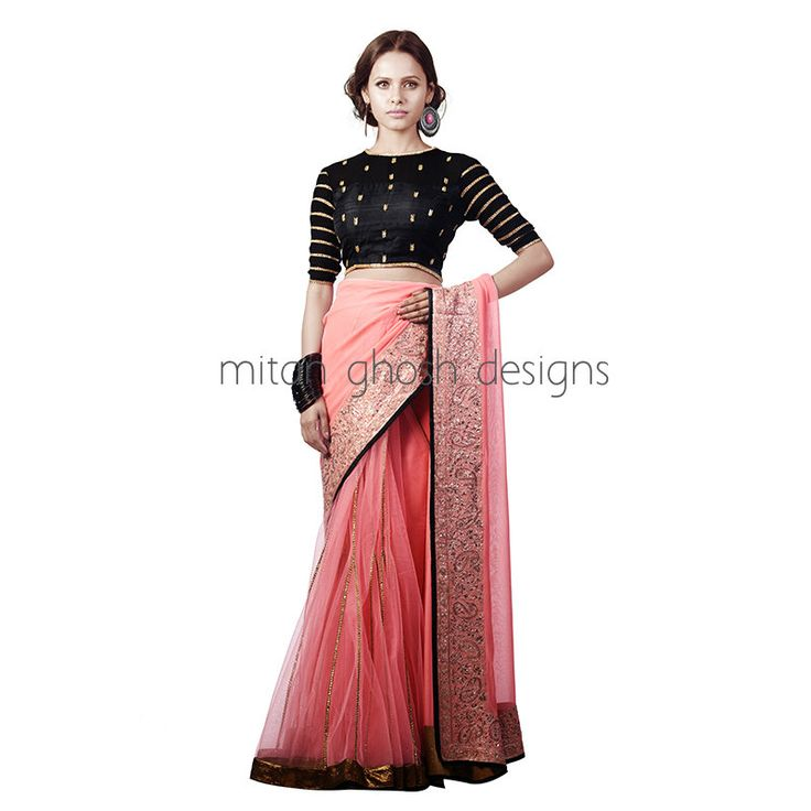 Net and georgette Lahenga Saree With Raw Silk Embellished Blouse
