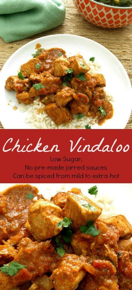 Chicken Vindaloo - KitchenDreaming.com  -- The tangy, spicy blend of vinegar and Indian curry spices in Chicken Vindaloo is sure to satisfy and it's made without a pre-made paste or sauce mix.