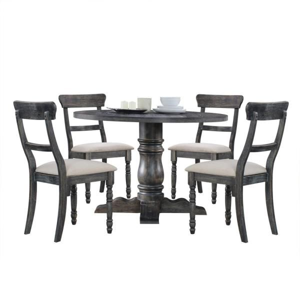 Acme Furniture Wallace Weathered Gray Dining Table 74640 The Home Depot In 2020 Grey Dining Tables Side Chairs Dining Black Round Dining Table