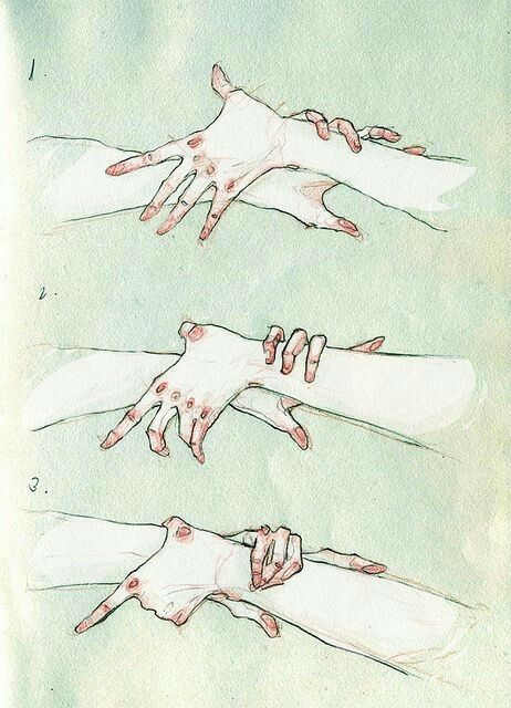 how to draw anime holding hands