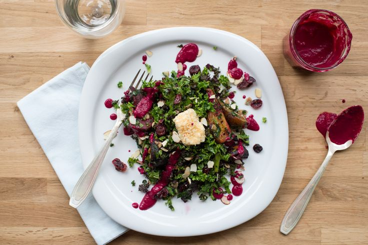Kale Salad with Roasted Beet Dressing