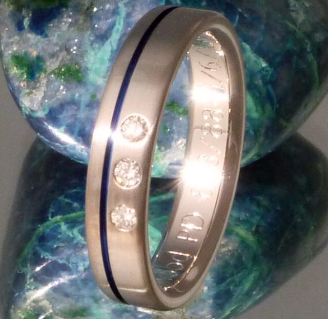 Thin Blue Line Titanium Diamond Wedding Band