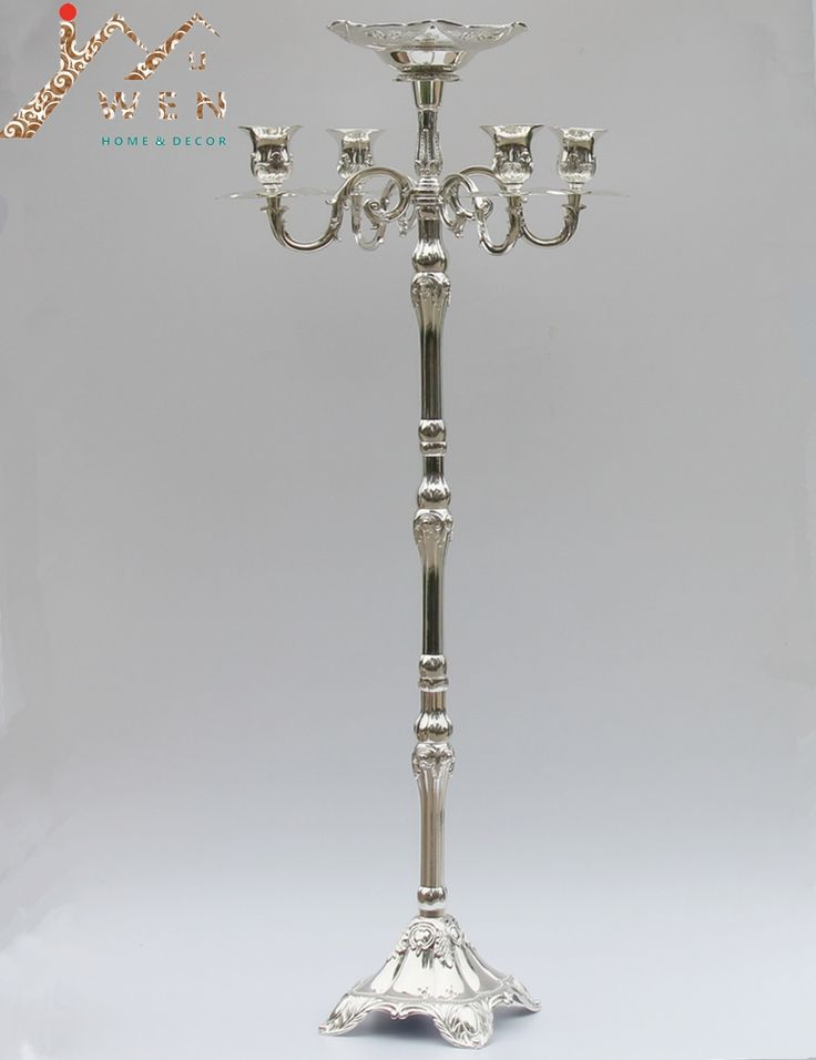 Wholesale price hot selling silver plated floor candelabra 85cm metal candle holder, silver shinny candle stand