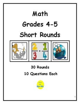 Here are 30 rounds of math questions, 10 questions per round, for elementary students. Rounds focus on computation, vocabulary, fractions, decimals, geometry, problem solving, pre-algebra, statistics, measurement, and number theory. Each round is followed immediately by an answer