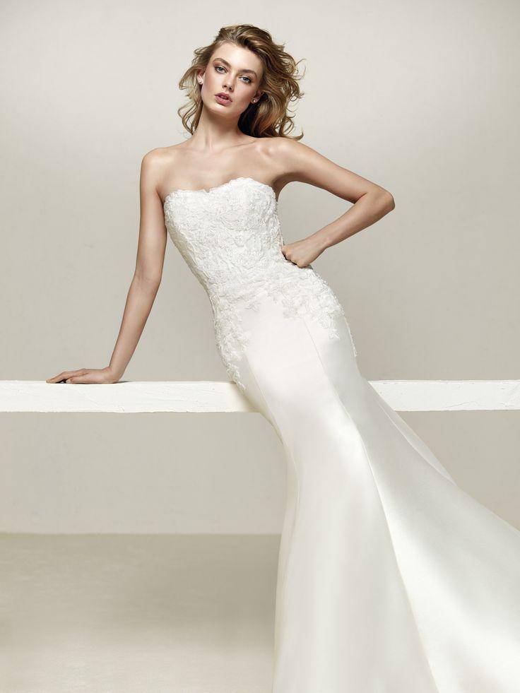Best Sophisticated wedding dress in Mikado Kelly and sweetheart neckline Drileas Pronovias