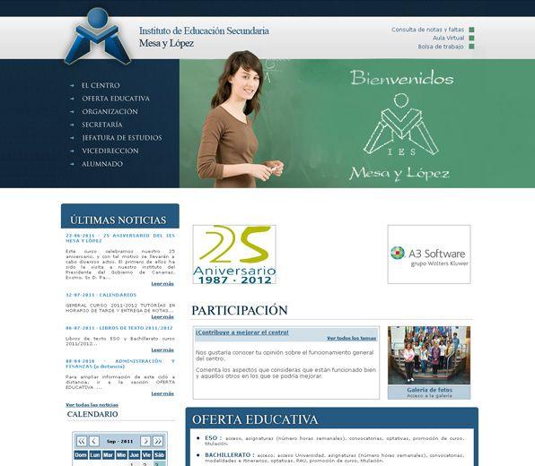http://www.iesmesaylopez.org Creación del logotipo en 3D y desarrollo de la página web. En su intranet, sistema de gestión para los profesores y alumnos. #web_design #web #paginas_web #web_las_palmas #web_canarias #paginas_web_las_palmas #paginas_web_canarias