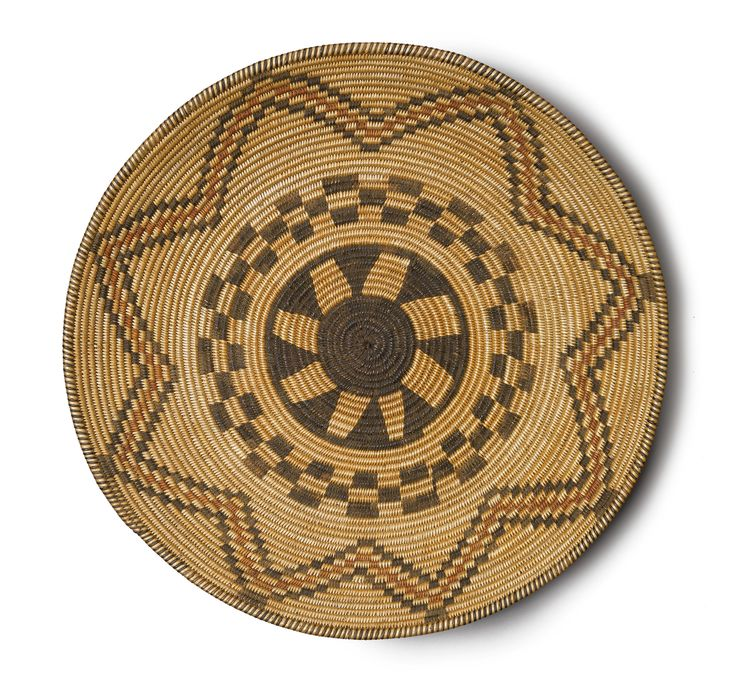Traditional Native American Basket Weaving : Apache polychrome coiled tray woven with a floral design