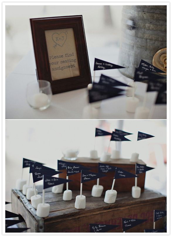 marshmallow and toothpick flag escort cards Could make the flags out of some cozy fabric!