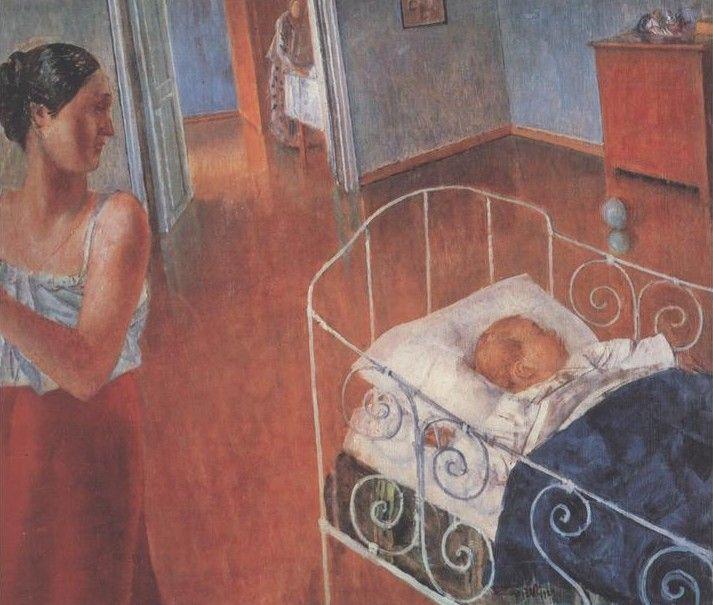 1924 SLEEPING BABY (СПЯЩИЙ РЕБЁНОК) by Kuzma Petrov-Vodkin (1878~1939)