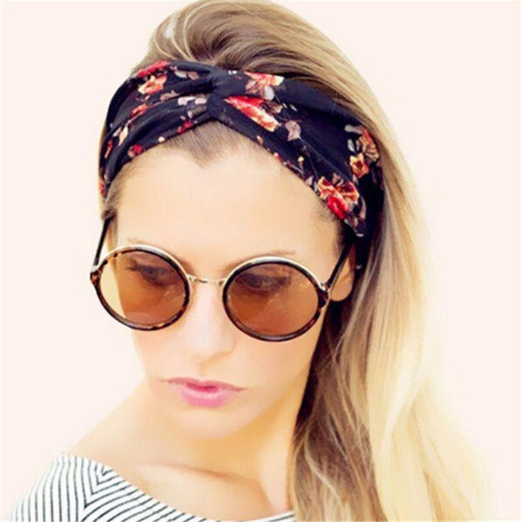 New Bohemian Women Turban Headband Multicolored Flowers Crossed Elastic Headbands for Women HA161