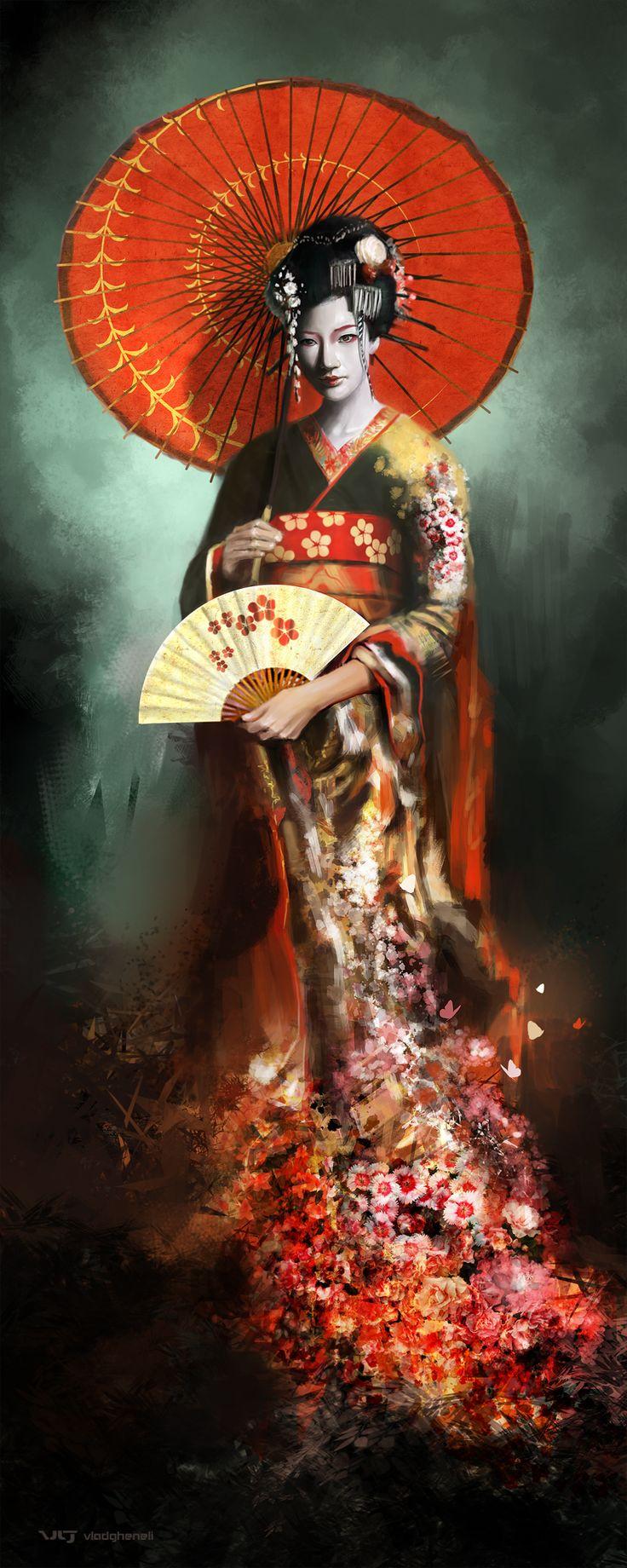 wallpaper geisha corals girl - photo #30