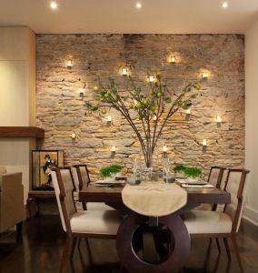 wandgestaltung mit kerzen fr natursteinwand - Natursteinwand Wohnzimmer