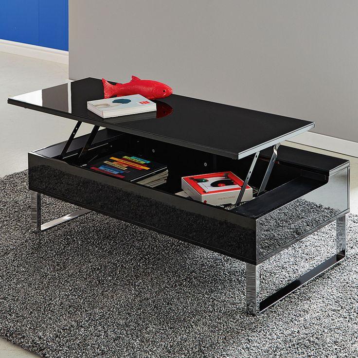 Novy - Tables basses-Tables basses, Bouts de canapé Table basse avec tablette relevable noire