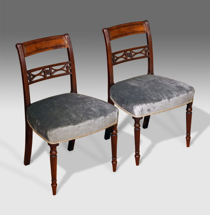 vintage dining chairs melbourne fine quality pair early regency mahogany moulded top rails pierced splats antique uk carver