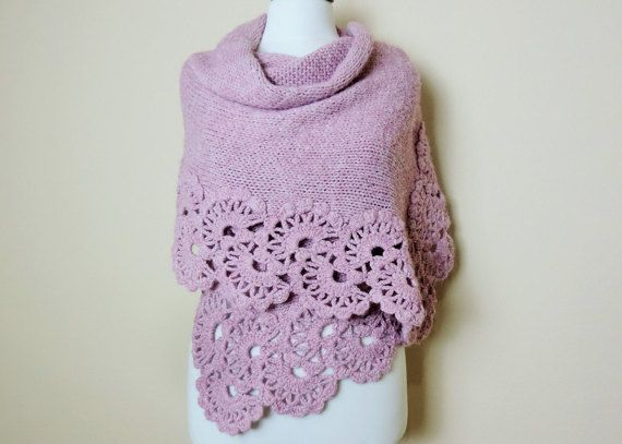 Pink Wedding Shawl Crochet Shawl Bridal Stole by orangeknitting