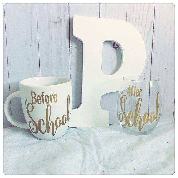 fafbaffdec6 Before School After School Coffee Mug and Wine Glass Teacher | Gifts ...