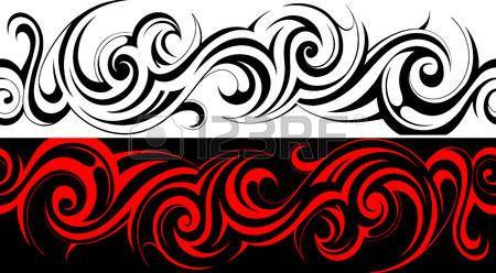 pattern righe: Seamless tribal linea tatuaggio modello Vettoriali
