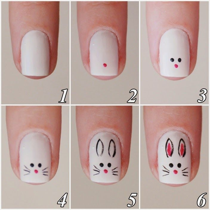 Animal|Bunny|Holiday|Easter|Step by step|White|Simple| | Nails ...