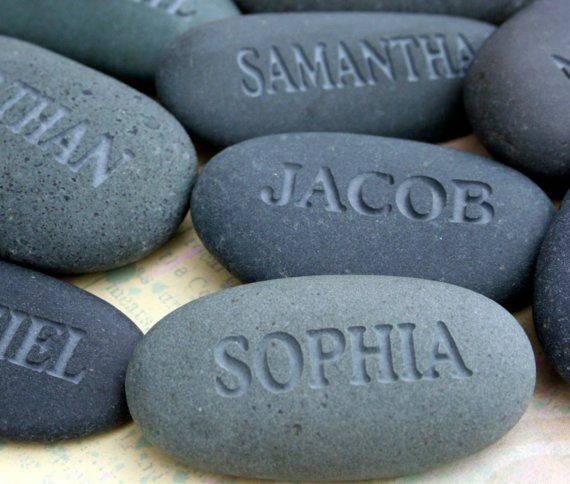 Engraved name stones are perfect gifts for many occasions: mothers day, birthday, baby announcement, party favors, place settings, reunions, office gifts, etc. Your personalized names will be individually carved on natural river rocks from California. Each rock measures approximately 2