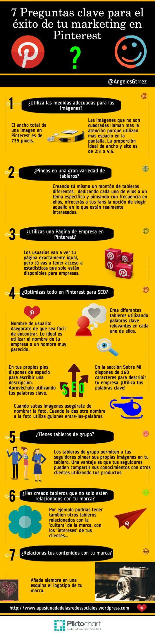 7 preguntas clave para el éxito de tu marketing en Pinterest #infografia #infographic #socialmedia