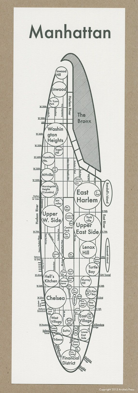 Manhattan Map 4.75″ x 16″ Letterpress. Beautiful Minimalist Simple Graphic Neighborhood Art Print. Cool Travel Poster Design