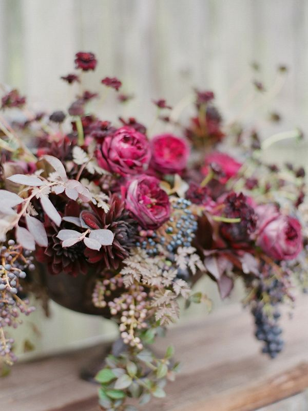 """Dark garden roses and other """"moody"""" autumn flowers. Apparently this includes all of the following: """"The Prince"""" Garden Rose, Chocolate Cosma, Nigella, Scabiosa, Chocolate Dahlia, Privet Berry, Viburnum Berry, and much much more..."""