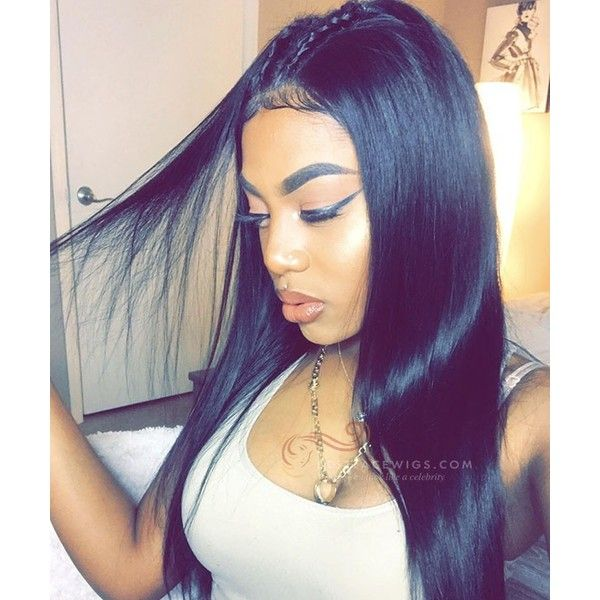 Heavy Density Silky Straight Virgin Brazilian Hair 360 Lace Wigs... ($245) ❤ liked on Polyvore featuring beauty products, haircare and hair styling tools