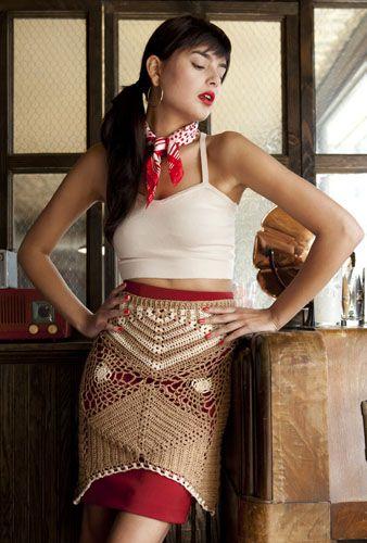 My latest design, out next month! @Vogue Knitting Crochet 2013, photo by Rose Callahan    Half Hexagon Skirt Designer: Vickie Howell For sizes: Small, Medium, Large, 1X, 2X Yarn information: Bernat Handicrafter Crochet Thread Amounts: 3 (3, 4, 4, 5) balls in #31011 warm tan 1 ball in #31008 crisp linen