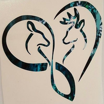 "Infinity Heart Doe Buck Deer Vinyl Decal 5"" Browning Muddy Country Truck Girl"