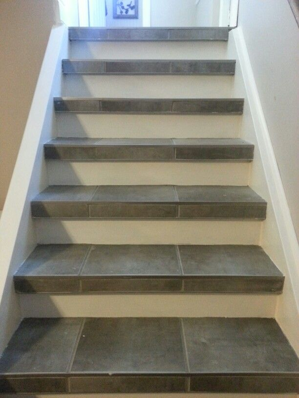 Basement Stair Trim: Stairs To Basement Got A Facelift. Tile Used As Nosing
