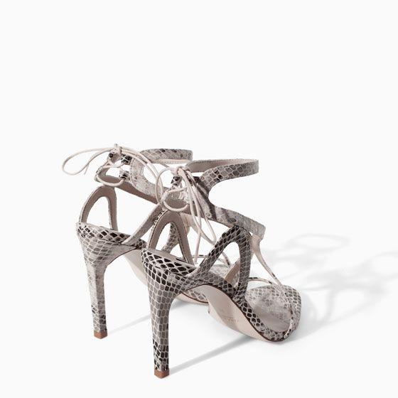 High heel snake print leather sandal from Zara