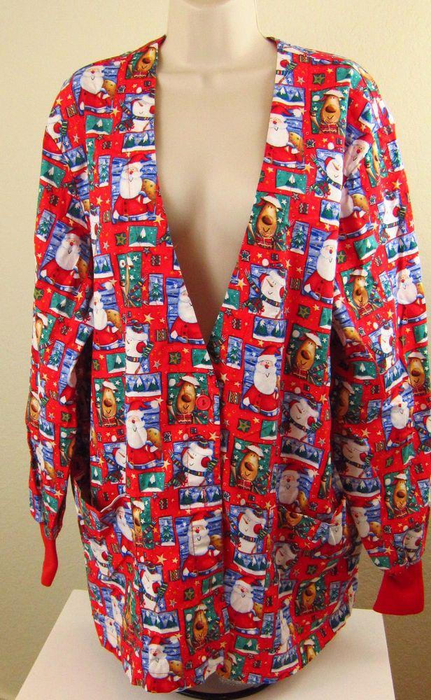 PEACHES Scrub Uniform XL Red Santa Christmas Long Sleeve Pockets Button Front #Peaches