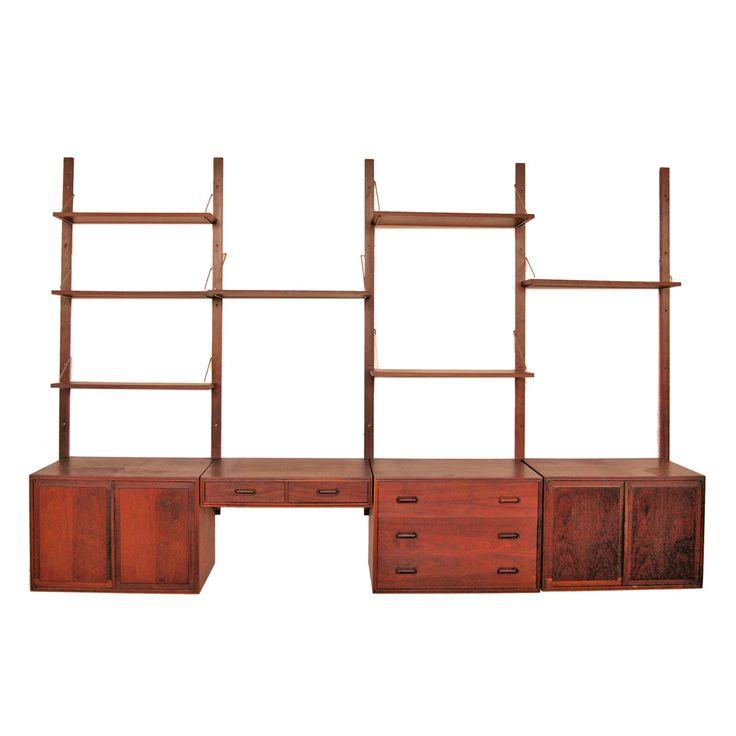 mid century danish modern walnut wall unit storage system. Black Bedroom Furniture Sets. Home Design Ideas