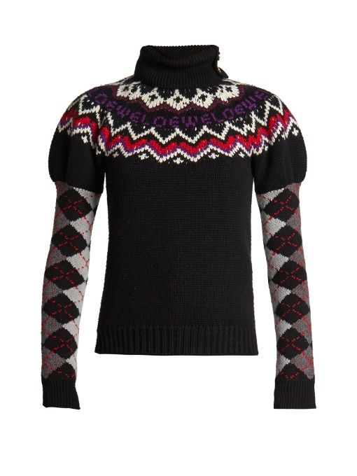 GABRIELLE'S AMAZING FANTASY CLOSET | Loewe's Black Roll-Neck Sweater has an Ultra-Now Silhouette combining Puffed Shoulders with Slim Argyle Sleeves. It's Patterned with White, Red, and Purple Intarsia along the Neck and Shoulders with Ribbing at the Hem. Wear it over a Black Patent Leather Mini-Skirt with a Front Side Slit. Add Sparkle with Gold Drop Earrings and a Coral Ring.  Black Patent Mules and a Red Saddle-Bag finish the look (It's all on this board). How's your Swagger? - Gabrielle