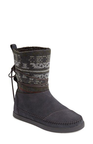 Free shipping and returns on TOMS 'Nepal' Stripe Boot (Women) at Nordstrom.com. Monochrome stripes spruce up the shaft of a moc-stitched suede boot lined with cozy faux shearling. Since Blake Mycoskie started TOMS in 2006, the company has given away 10 million shoes to children in need across the globe through sales of their now-iconic shoes and their innovative 1-for-1 donation program.
