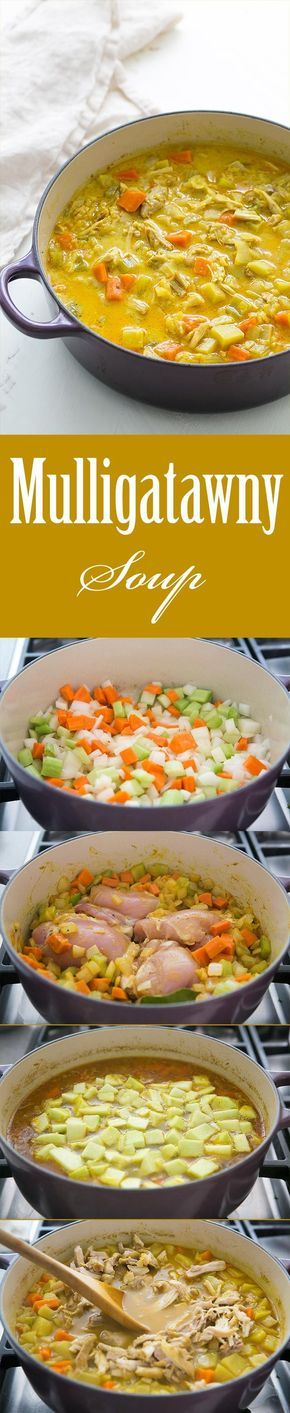 Chicken Mulligatawny Soup ~ Easy chicken curry soup, with chicken thighs, carrot, onion, celery, apple, stock, curry, rice, and cream ~ SimplyRecipes.com