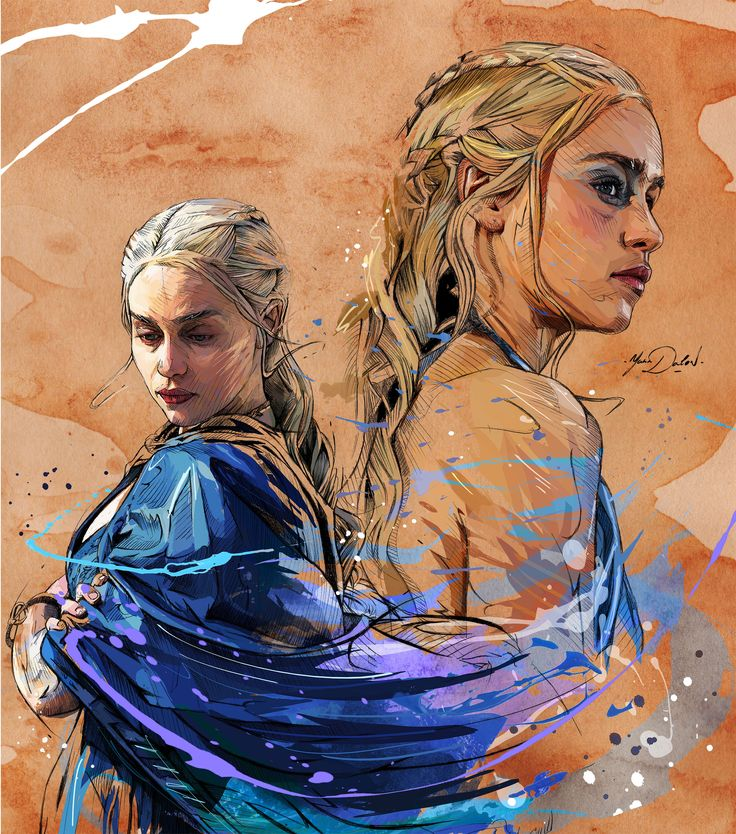 """My painting of """"The Mother of Dragons"""" in the HBO tv show, Game ofThrones."""