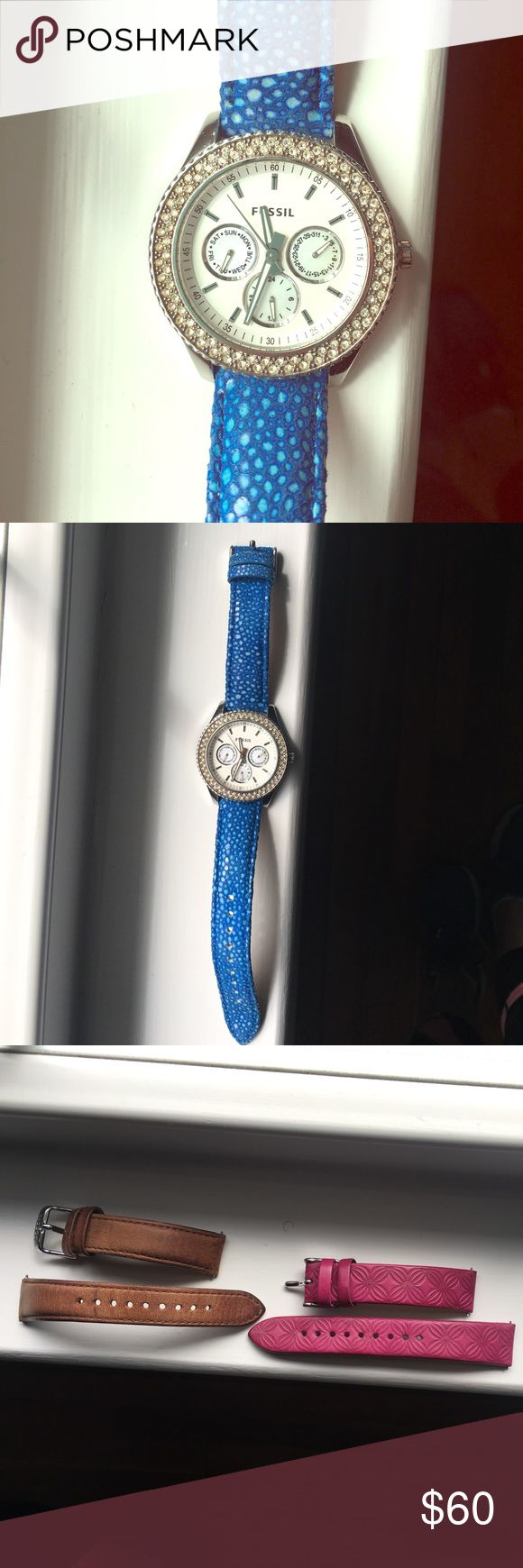 Fossil watch with 3 different color band options! Cute fossil watch with blue, pink and brown bands! Needs new watch battery! Fossil Accessories Watches
